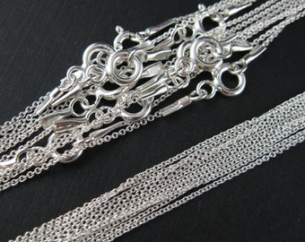 Sterling Silver Necklace,925 Sterling silver Chain,Necklace - Tiny Plain Cable Oval - Finished Necklace  - 18 inches ( 4 pcs) - SKU: 601009