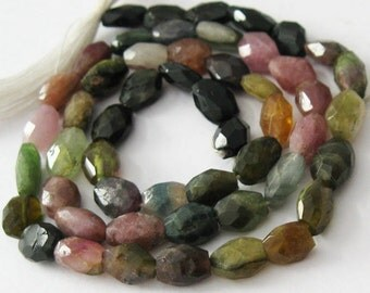 Tourmaline -Semi Precious Stone , Faceted Oval Beads - full strand -( 7-8mm) 14.5 inches - Gem 50 SKU: 309008-TML