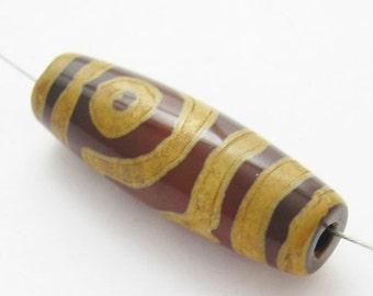 Carnelian dZi bead - Olive Shape with 2-Eyes Totem --30mm by 10 mm (1 pcs) - SKU: 302057