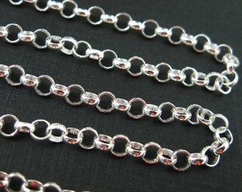 Sterling Silver Chain-Sterling Silver Bulk Chain,Jewelry Making Chain,Unfinished Bulk Chain by the foot-Rolo Chain-3.5mm(3 feet) SKU:101003