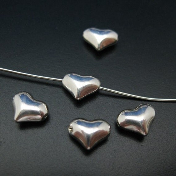 Sterling silver Findings - Tiny Hearts  ( 6.5mm  - 10 pcs) -SKU: 201037