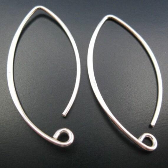 Earring Findings, Earring Hooks,Sterling Silver Earwire - 20 Ga gauge Marquise shape 35mm long, Large Earwire ( 2pcs - 1 pair) Sku: 203009