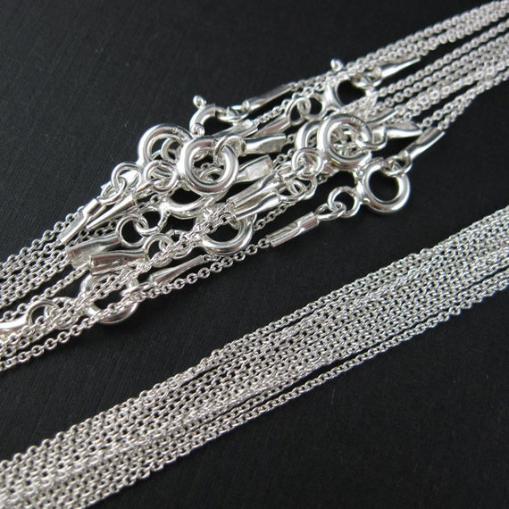Sterling silver Chain,Necklace -Tiny Plain Cable Chain-Finished  -18 inches (35 pcs)-Save 30%-Jewelry Supplies Wholesale -SKU: 601009