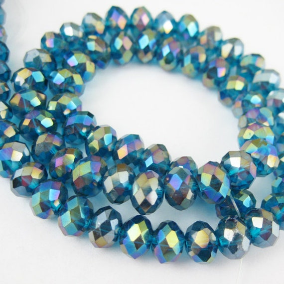 Crystal - Glass Faceted Rondell - Peacock Blue with AB Coating - 8mm by 6mm - Full Strand - 16 inches 307025