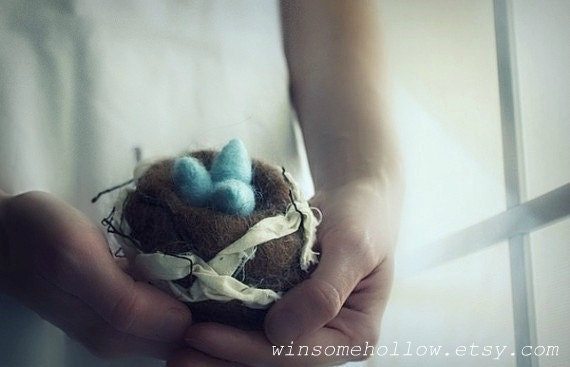 twig nest with eggs.  needle felted. made to order