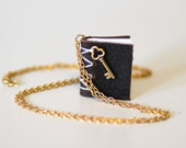 Key to the Secrets.  Leather Mini Book Necklace