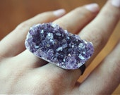 Double Amethyst Ring - Brass