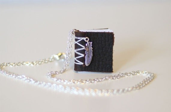 no 264.  Written on the Wind, Miniature Book Necklace