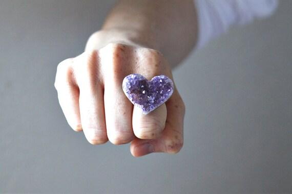 no. 350 Heart Shaped Amethyst Ring