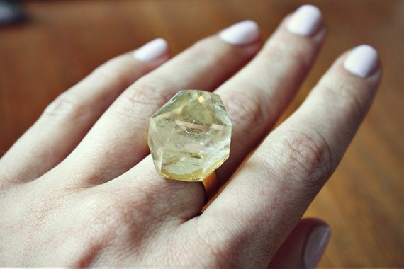 Citrine Crystal Ring - Gold
