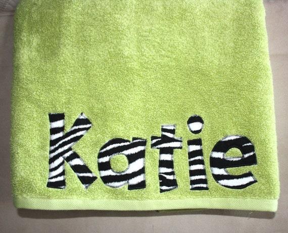Girls Personalized Bath Towel