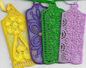 Set of 4 Small Lace Machine Embroidery Bookmarks with Ribbons