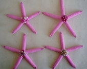 SALE SAVE Ten Dollars off this Set of 4 Jeweled Pink Starfish Pink Christmas Swarovski Crystals