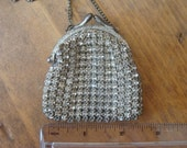 Vintage Rhinestone Change Purse Necklace