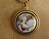 BUY 2 - GET 1 FREE Brass Charm Pendant w\/ 18 inch Antiqued Brass Ballchain Necklace MARIE ANTOINETTE 1