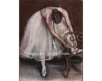 Ballet Dancer Tying Shoe portrait 5x7 signed blank card