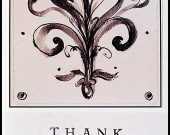 5x7 or 5 1/2 x 5 1/2 fleur de lis embellished blank Thank-You card