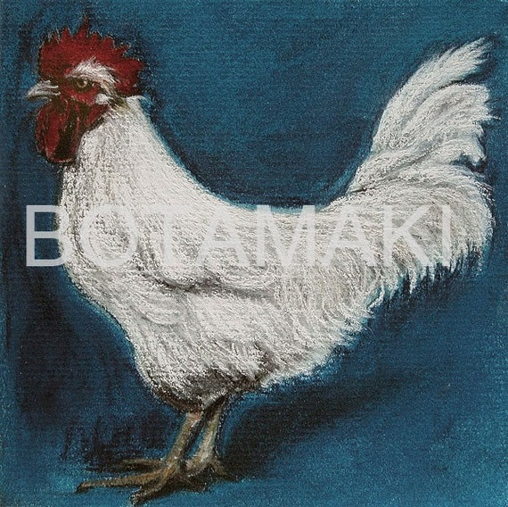 French White Rooster 5 x 5  blank card