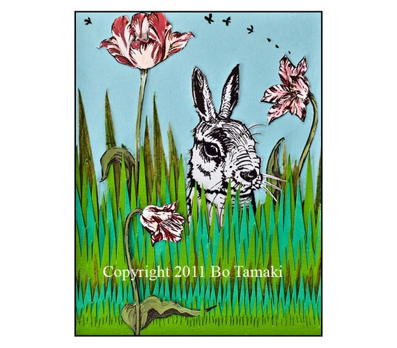 Rabbit in the Garden 5x7 handmade blank greeting card