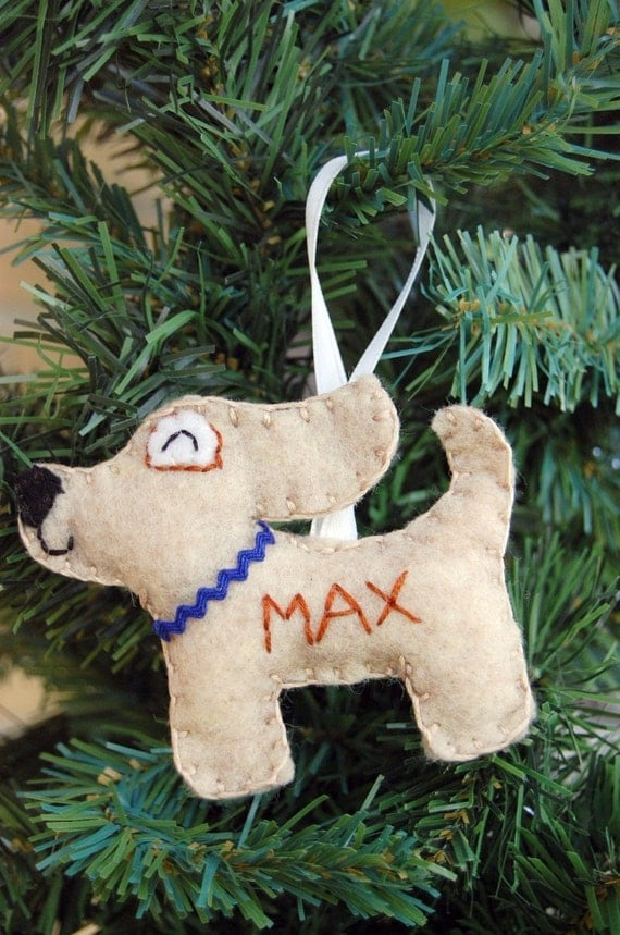 The Tumus Original Personalized Felt Dog Ornament - Made to Order Felt Ornament