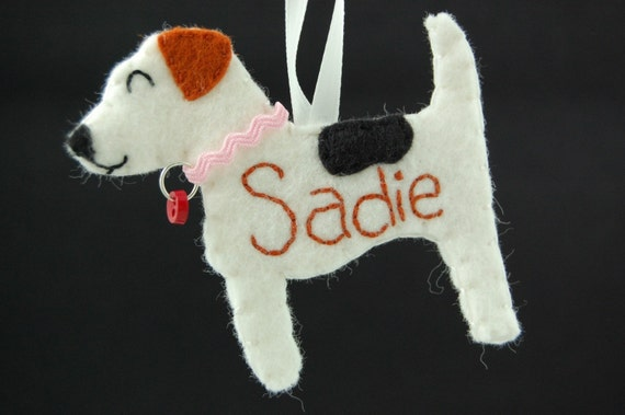 Felt Dog Ornament Personalized Jack Russell - Made to Order Felt Dog Ornament