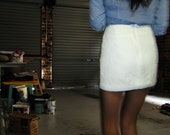 Textured White Mini Skirt