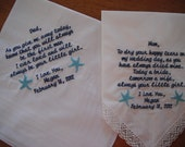 Personalized Wedding Handkerchief..Set of Two
