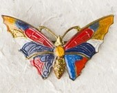 Enameled Butterfly Brooch - Art Deco - Primary Colours