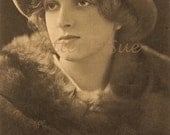 Real Photographic Postcard  Young Gladys Cooper In Soft Felt Hat and Fur Coat- RPPC