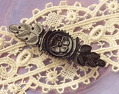 Victorian Whitby Jet Bar Pin, Antique Mourning Brooch/Pin,Hand Carved Flower &Leaves