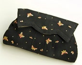 Art Deco Black Silk Butterfly Clutch Purse - Hand Embroidered Butterflies