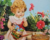 Children's Postcard - Doll with Toy Watering Can 1950's - Unposted