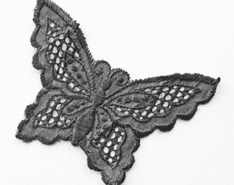 Vintage Black Silk Butterfly Trim For Applique, Unused Old Stock, Sew On Motif /Trim