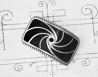 Art Deco Great Gatsby Era,Black and Silver, Enamelled Belt Slide.Flapper Slide/ Repurpose As Choker Or Cuff Bracelet