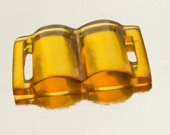 Art Deco PRYSTAL Apple Juice Yellow Bakelite Belt  Slide; Asymmetric,Early Plastic