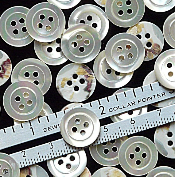 30 Natural White Mother of Pearl 4 Hole Buttons