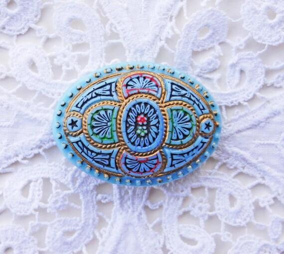 Gorgeous Oval Vintage Glass Button Imitating Micro Mosaic