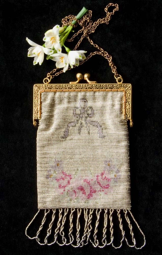 French Edwardian Steel Beaded Purse- Floral motifs