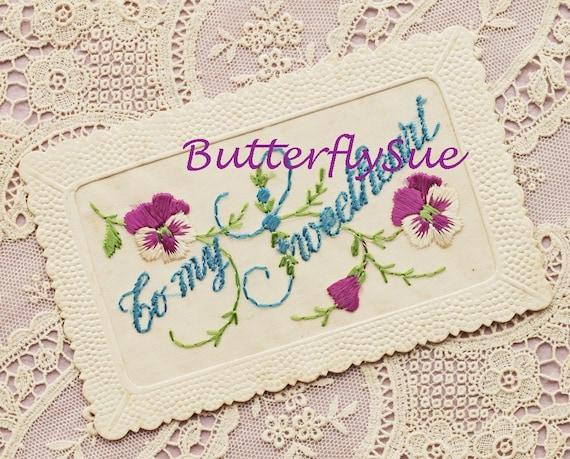 """Vintage Romantic Silk Postcard -""""To My Sweetheart"""" - Pansies"""