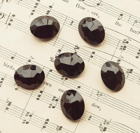 Antique French Jet, Faceted Glass  Oval Buttons,High Domed, Steampunk,Goth,Late Victorian or Edwardian ( 6pcs)