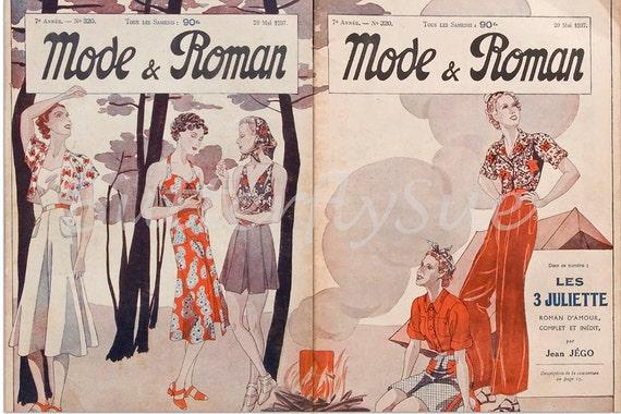 "Art Deco French Fashion Magazine - ""Mode & Roman"" - 29 May 1937"