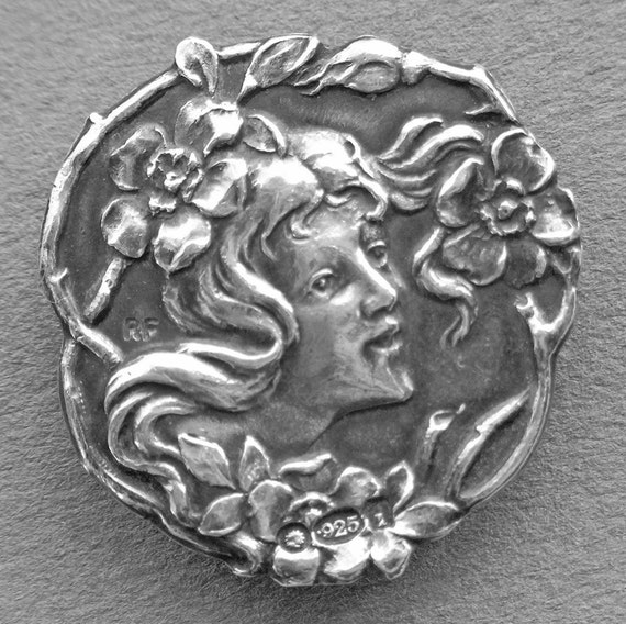 RESERVED Silver Button Art Nouveau - Girl with Flowing Hair -1902