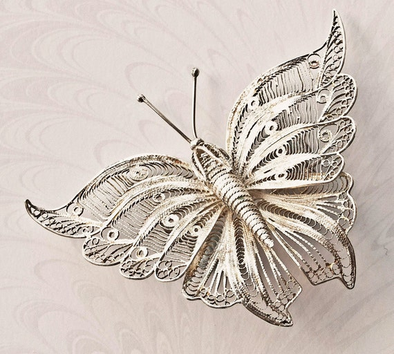 Antique Silver Filigree Butterfly Brooch - Edwardian - Large