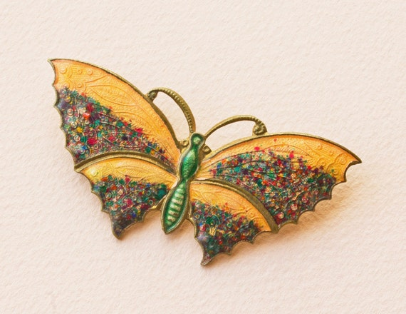 Enameled Butterfly Brooch Art Deco