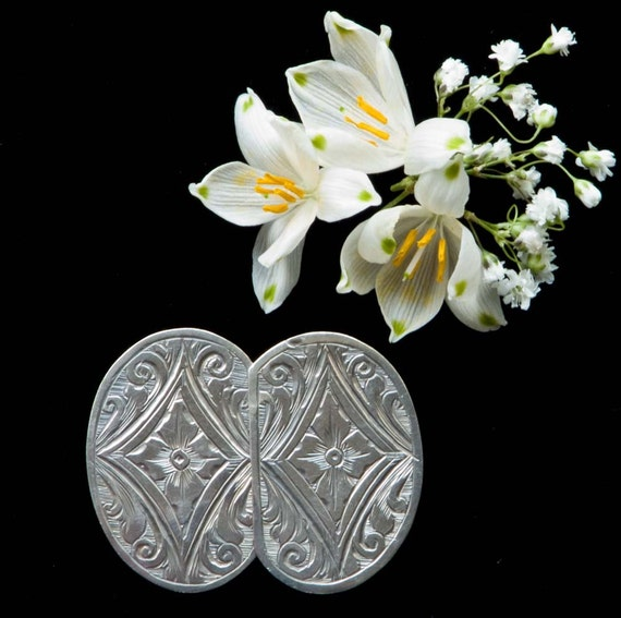 Antique Silver  Buckle Cut and Engraved Decoration,  Edwardian - Small