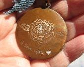 Engraved Rustic Love Locket on copper chain w denim valentine gift of love warm copper color locket