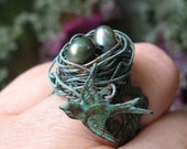 Enchanted Woodland Birdnest on Verdigris Filigree adjustable ring with  verdigris bird charm