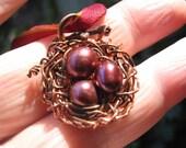 Woodland Rose  birdnest on sari ribbon