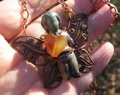 Whimsical Butterfly Fairy on copper chain with brass hearts necklace