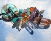 Woodland Goddess semi-precious stone cluster necklace